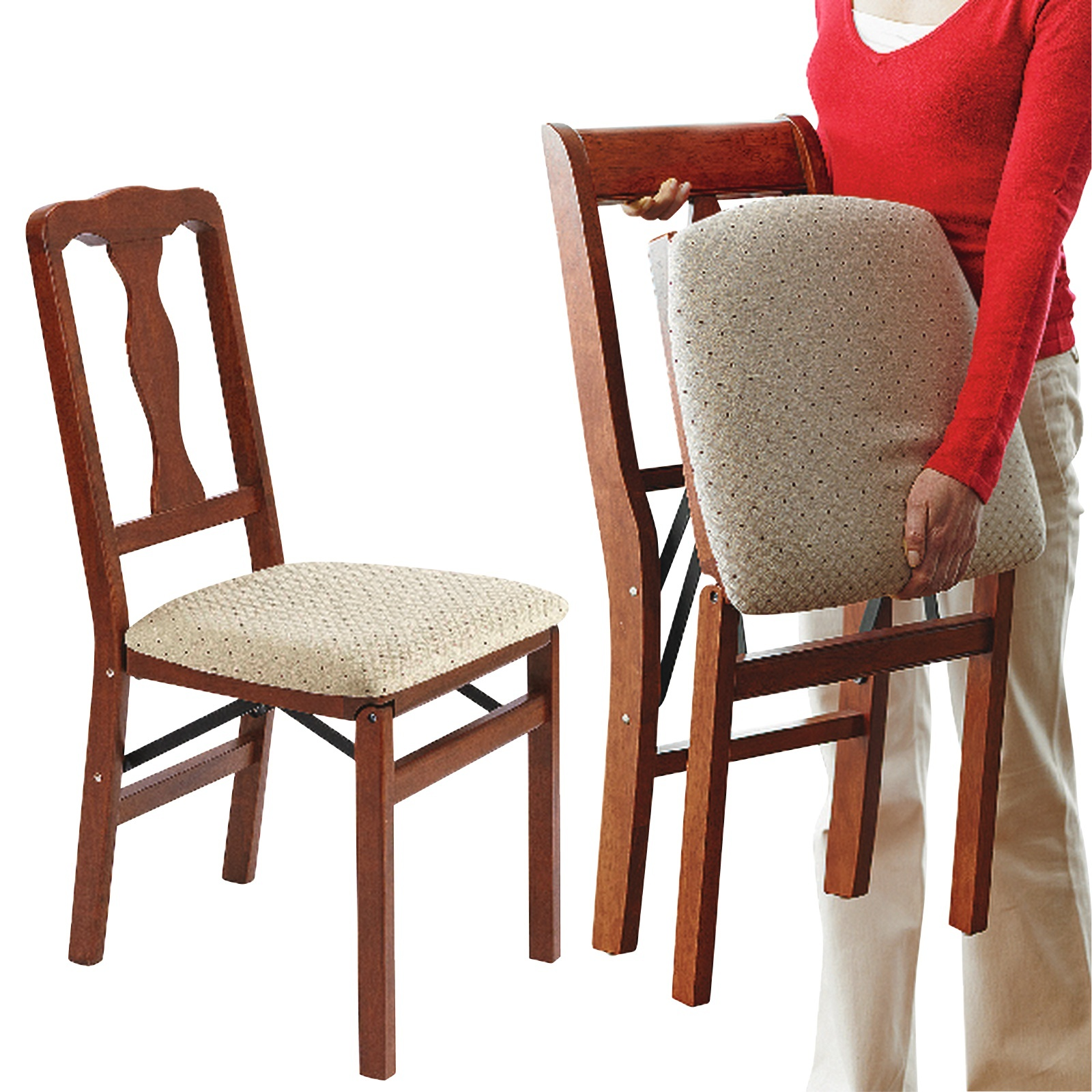 Peachy Queen Anne Folding Dining Chairs 2Pcs Solid Hardwood Frame Cushioned Seat Pad Mahogany Theyellowbook Wood Chair Design Ideas Theyellowbookinfo