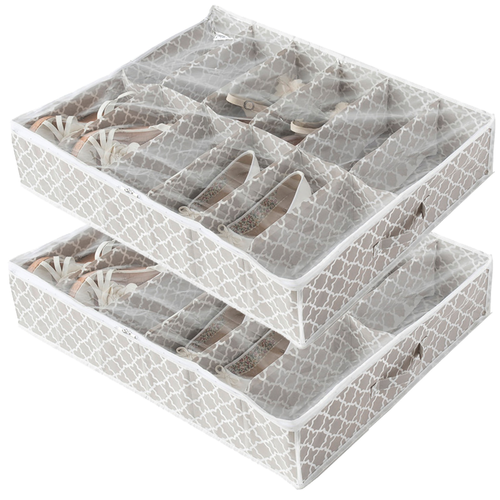 Ebay Uk: 2 Shoe Storage Boxes Container Under Bed Store Fabric Bags