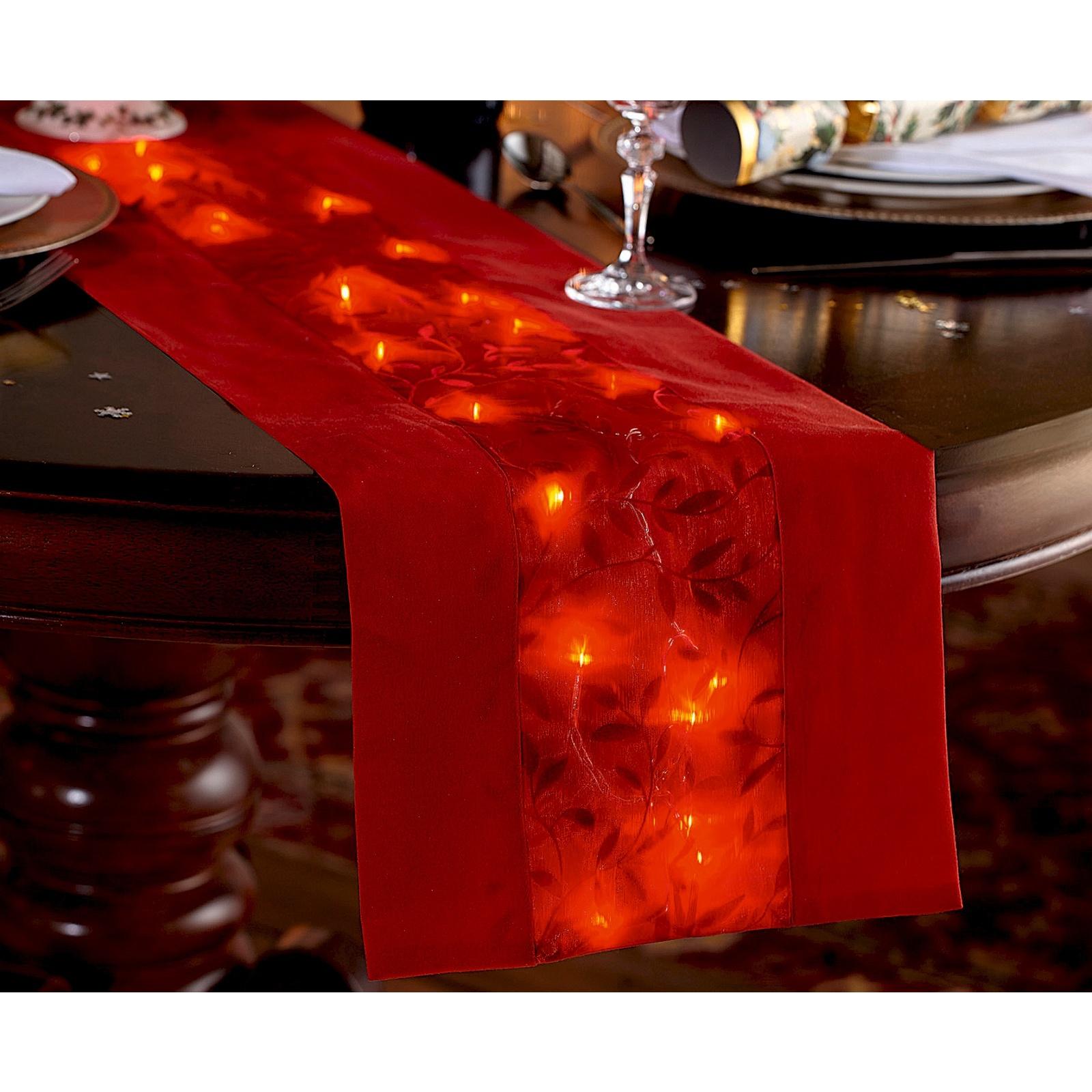 Red Fabric Dining Table Runner Warm White Led Lights Christmas Dinner Decoration 5053335773892 Ebay