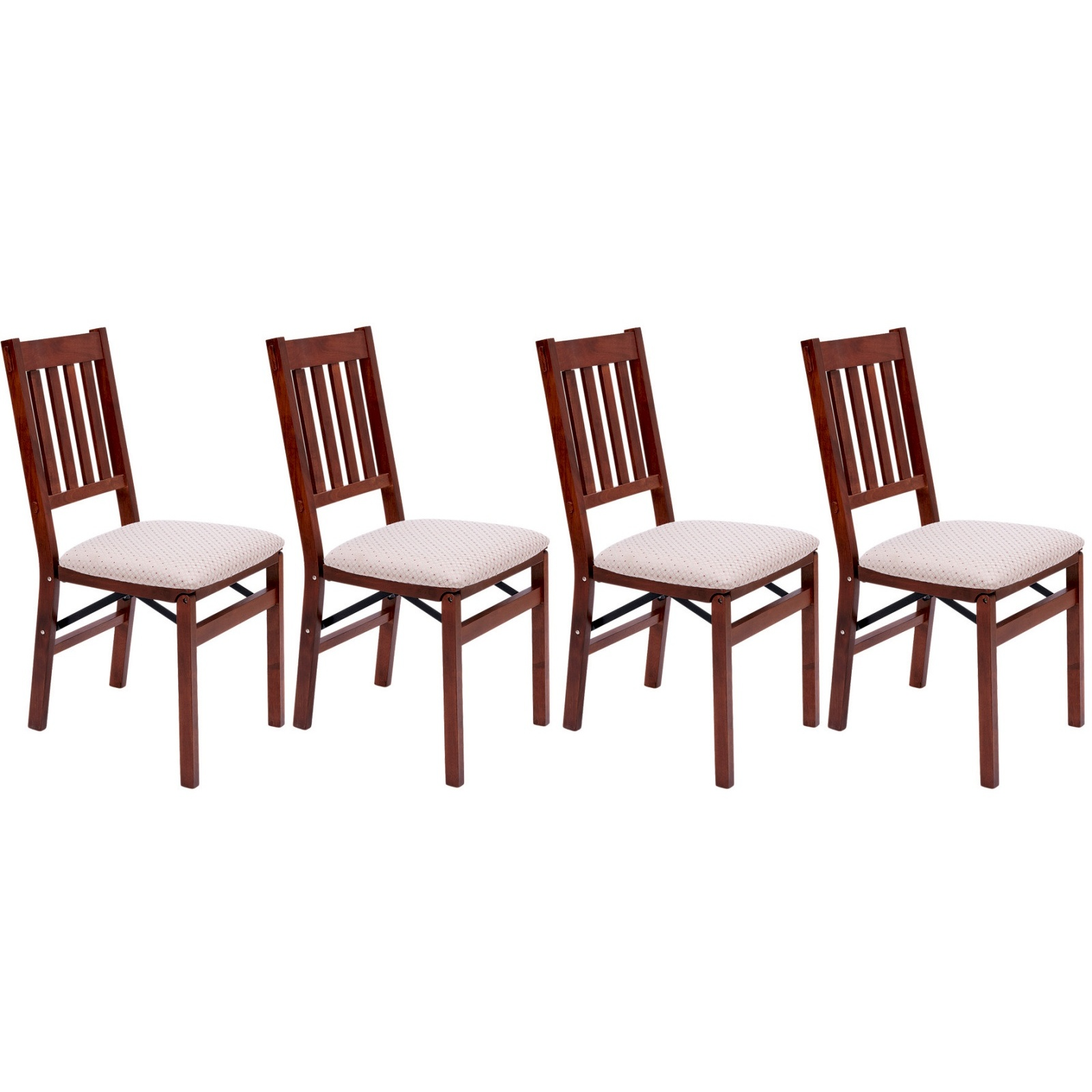 Folding Dining Chair Padded Seat Sturdy Solid Hardwood Mahogany Pack Of 4 5053335372750 Ebay